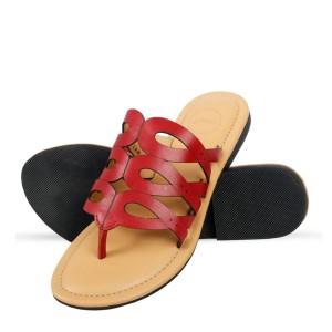Corium Crm502 Trendy Ladies Flat Fashionable Sandal With Metalic Foil Print Upper (red)