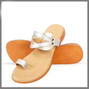 Corium Crm504 Trendy Ladies Flat Fashionable Sandal With Metalic Foil Print Upper (golden)
