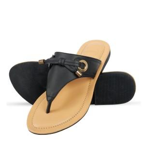 Corium Crm503 Trendy Ladies Flat Fashionable Sandal With Metalic Foil Print Upper (black)