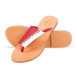 Corium Crm501 Trendy Ladies Flat Fashionable Sandal With Breaded Upper (red White)