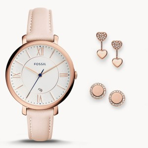 Fossil Es4202set Leather Watch And Jewelry Box Set For Women